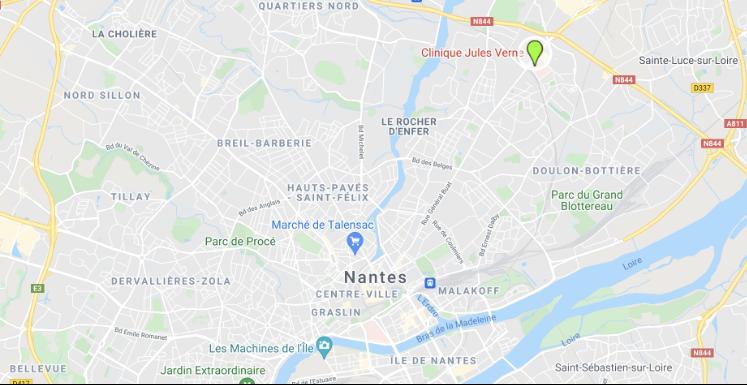 Carte Nantes avec la localisation de la clinique Jules Verne