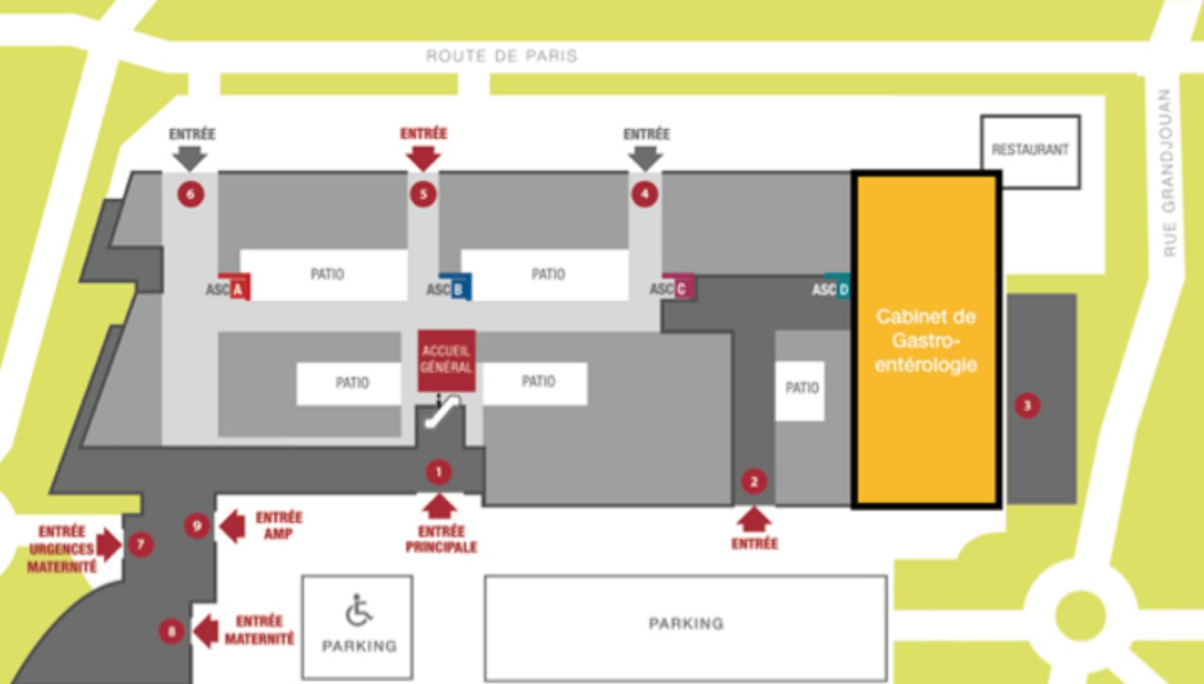 Plan de la clinique Jules Verne Nantes - service gastroenterologie